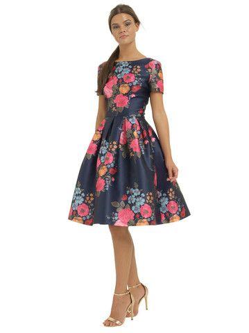 Chi Chi Amber Floral Boatneck Vintage style Dress | Clarence and Alabama