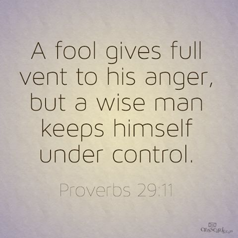 Proverbs 29:11. We can all be fools Boy I have been the fool, but now Jesus has released this and I have control.  Thank you Lord.