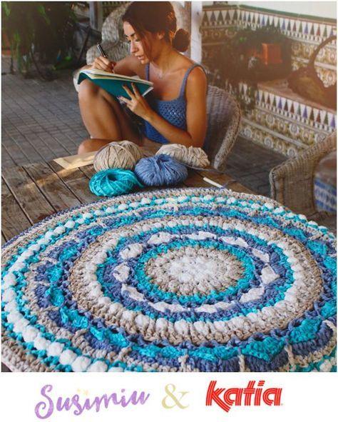 Vloerkleden ! Essentiële onderdelen voor de decoratie die persoonlijkheid, warmte, harmonie… zoals dit Mandala Vloerkleed gehaakt door Susimiu met Washi.