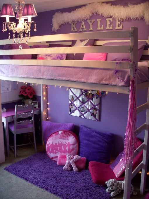 "Rockin girls room, Out of the ""little"" girl stage  my daughter was ready for something ""cooler"". She picked purple with silver and sparkly stars. , Girls Rooms Design"