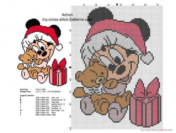 Cross stitch pattern Christmas baby Minnie with teddy bear