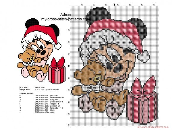 Cross stitch pattern Christmas baby Minnie with teddy bear