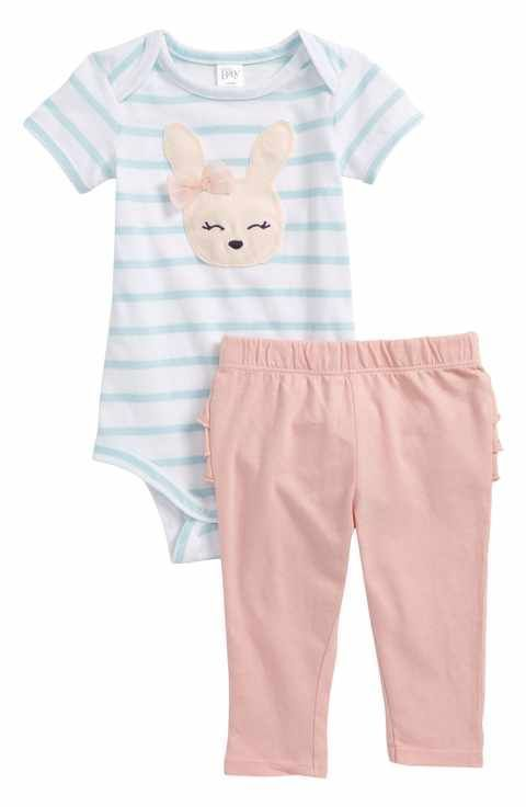 17a6da3c556d Nordstrom Baby Stripe Bodysuit & Ruffle Leggings Set (Baby Girls)  #babygirlpajamas