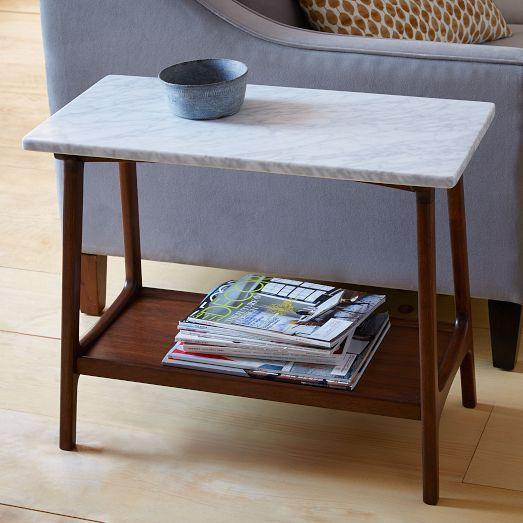 Entry table || Reeve Mid-Century Side Table - Marble | West Elm