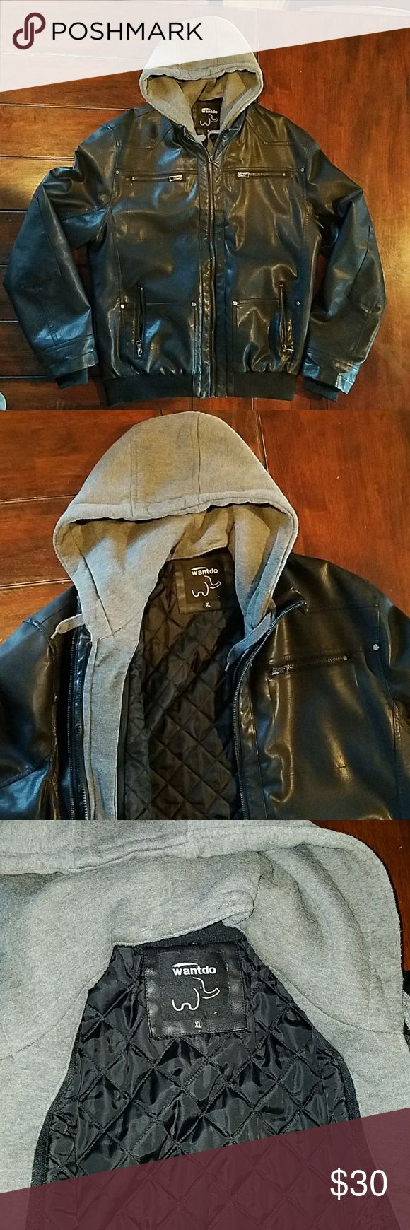 Wantdo Men's Faux Leather Jacket XL Men's XL Faux Leather Jacket with removable hood. Great condition. Only worn a handful of times. No rips or tears, all zippers work Wantdo Jackets & Coats