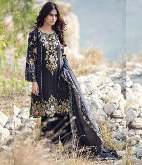Maria B Embroidered Linen Suits collection BLACK DL-303