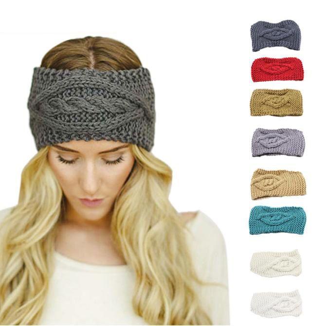 Fashion Womens Headband Winter Warm Skiing Knitted Empty Skull Wool Hair  Band 4b6b3426db33