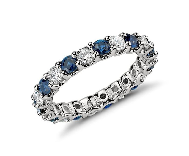 U-Prong Eternity Sapphire and Diamond Ring in Platinum (1 ct. tw.) | Blue Nile