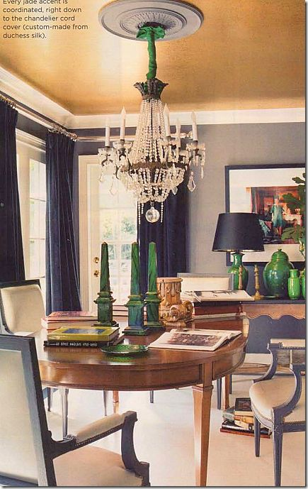 mary macdonald gilded ceiling grey and green and black...love the combo