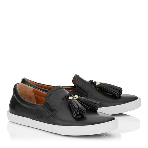 Jimmy Choo Dale Flat Black Vacchetta Leather Slip On Trainers With Tassel  Embellishment #fashion #