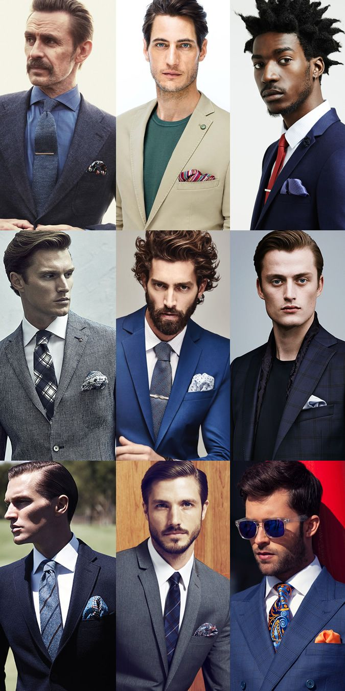 Men's Casual/Puff Fold Pocket Square Lookbook Inspiration