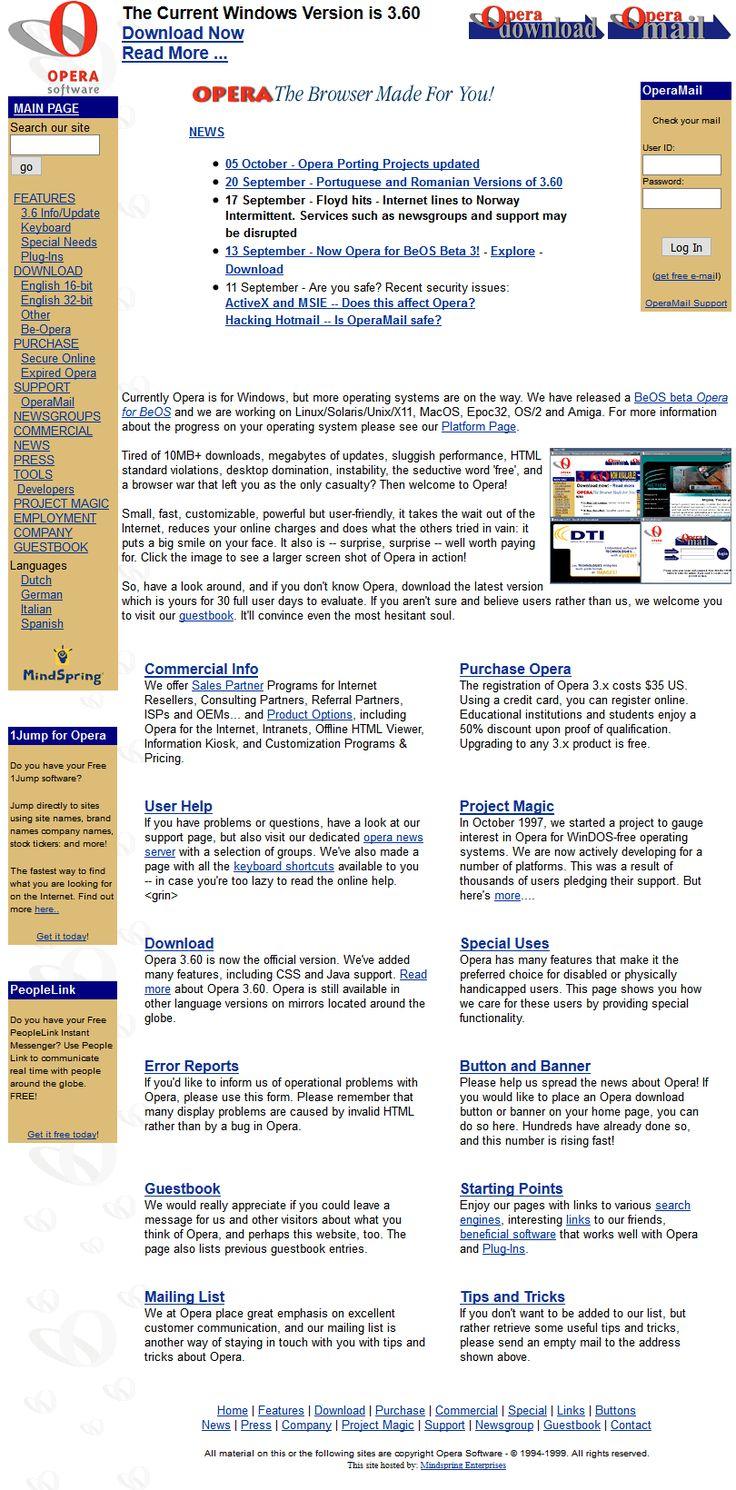 Opera Software website 1999