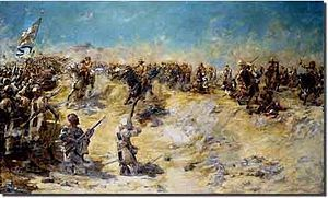 21lancers-The Battle of Omdurman cost the Mahdists a stunning 9,700 killed, 13,000 wounded, and 5,000 captured. Kitchener's losses were a mere 47 dead and 340 wounded. The victory at Omdurman concluded the campaign to retake Sudan and Khartoum was quickly reoccupied. Despite the victory, several officers were critical of Kitchener's handling of the battle and cited MacDonald's stand for saving the day.