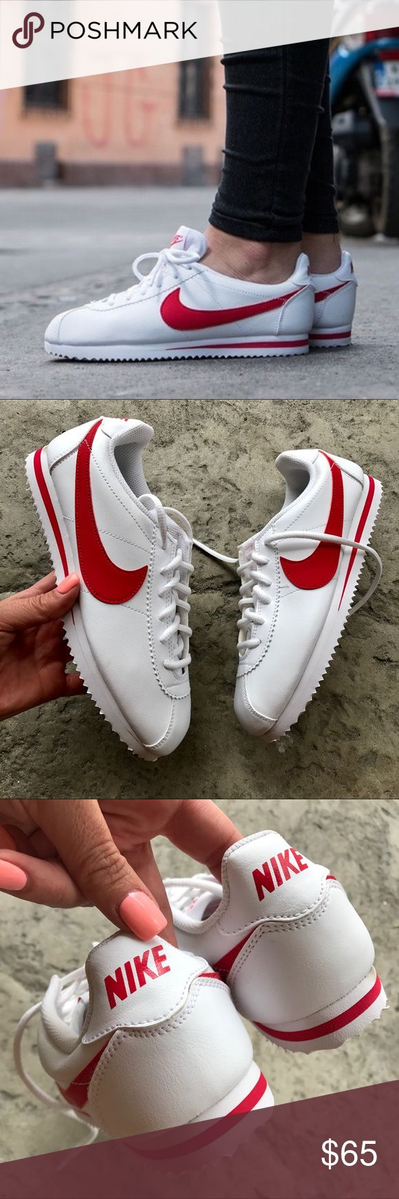 NEW 👟 NIKE CORTEZ WHITE | RED LEATHER YOUTH SIZES New never worn 😍 NIKE CLASSIC CORTEZ | TRIPLE WHITE ALL LEATHER. UNISEX SIZING 👫  NO ORIGINAL BOX, smoke free home.  PRICED FIRM. 100% authentic & direct from NIKE ❤️ Nike Shoes Sneakers