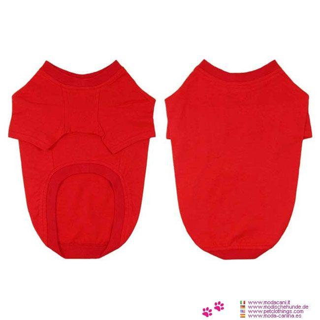 Camiseta de Algodón Perros Grandes en Rojo - Camiseta Roja hecha de 100% algodón; está diseñada para los perros grandes (Boxer, Pastor Alemán, Labrador, ...), con una amplia gama de tallas