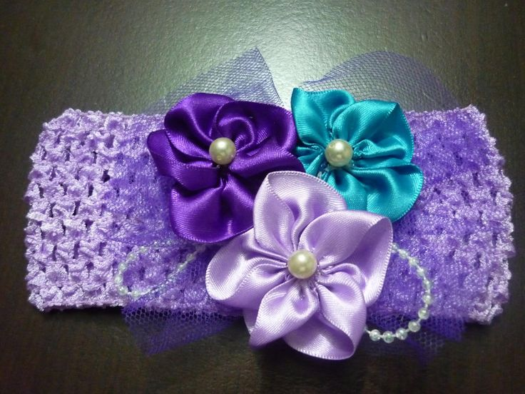 Tutorial  paso a paso flores en forma pentagono  en cinta raso para moño...