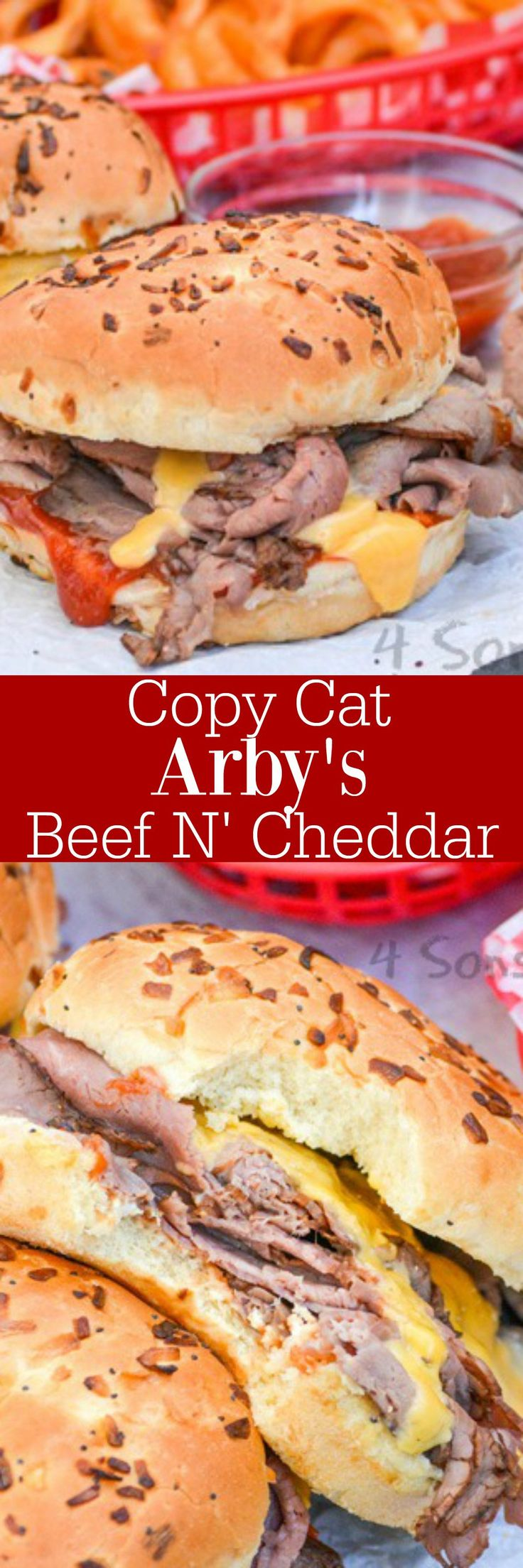 Get your favorite fast food sandwich fix without ever leaving the house. A Copy Cat Arby's Beef N' Cheddar tastes just like the original, but it's ready in a flash with ingredients already in your kitchen. This sandwich is a true copy cat of it's restaurant counter-part, featuring fluffy onion buns piled high with roast beef, slathered in a signature sauce and dripping with golden cheese.