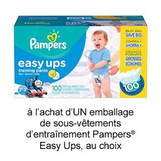 Coupon de 2$ sur les sous-vêtements d'apprentissage Pampers Easy Ups