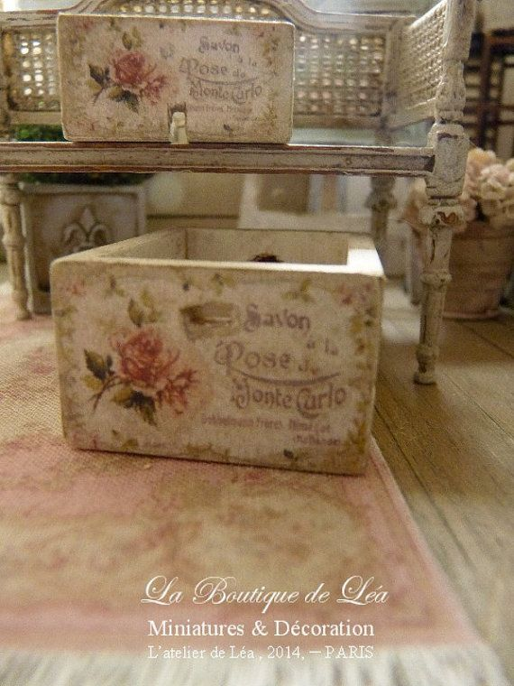 "Shabby wooden crate ""Savon à la Rose"", Distressed white, Decorative accessory for French dollhouse in 1:12th scale"