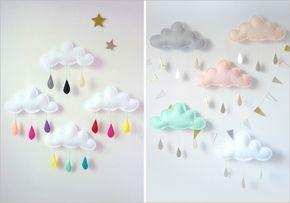 decoration chambre bebe avec un mobile en feutrine en forme de nuage