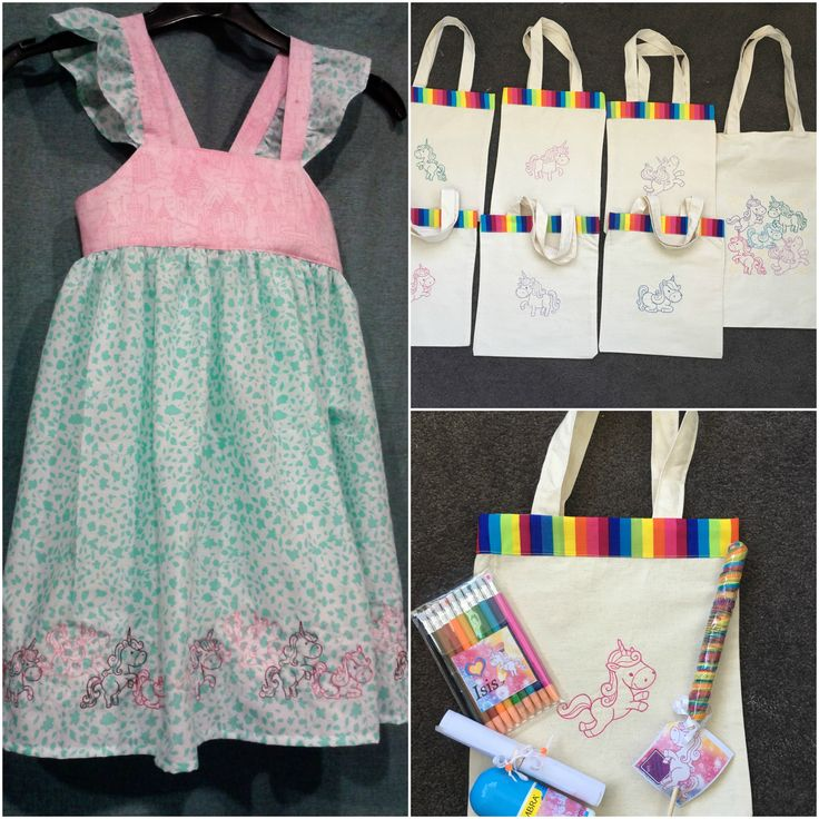 Unicorn birthday party. Dress, Party bags and tote. Unicorn designs are from the 'Creature Feature' embroidery pattern from URBAN THREADS and comes for either hand or Machine embroidery.
