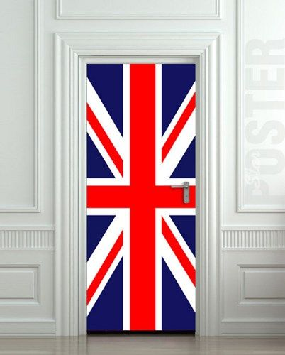 "Door STICKER British flag UK banner Great Britain England English London mural decole film self-adhesive poster 30x79""(7"