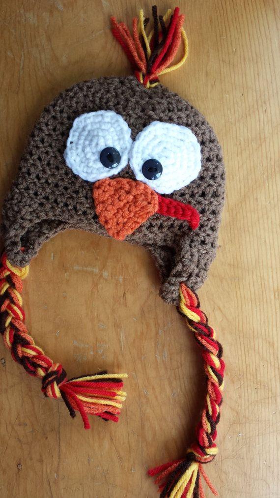 Turkey Ear Flap Turkey Hat Newborn Photo Prop by LittlestYarnShop