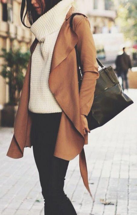 Camel Plain Belt Turndown Collar Long Sleeve Coat