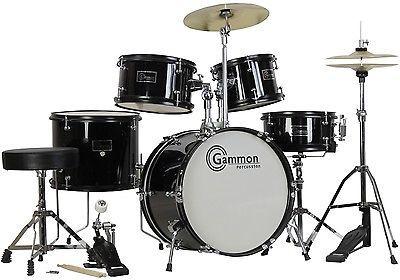 44143 musical-instruments New Black Drum Set 5 Piece Junior Complete Child Kids Kit with Stool Sticks  BUY IT NOW ONLY  $129.95 New Black Drum Set 5 Piece Junior Complete Child Kids Kit with Stool Sticks...