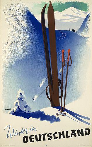 Winter in Deutschland (c.1920) vintage ski poster    Artist : Jupp Wiertz (Germany, 1888-1939)