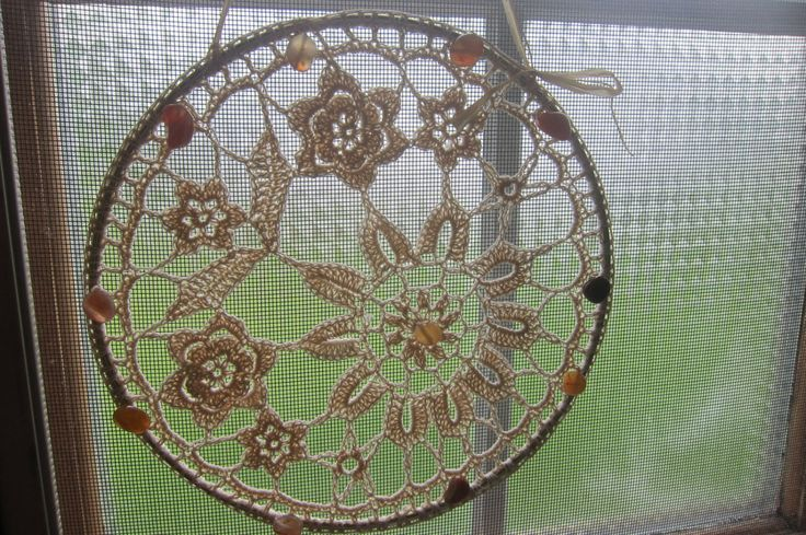Crochet Suncatcher Hanging Crocheted Window by mladycollection
