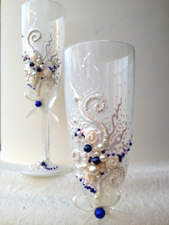 A beautiful pair of a #wedding champagne glasses, hand decorated with fabric roses and bows #decoration