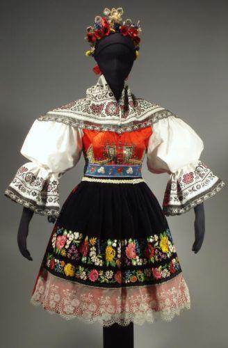 RARE Moravian Folk Costume Kyjov Embroidered Apron Skirt Blouse Czech Kroj Shawl | eBay
