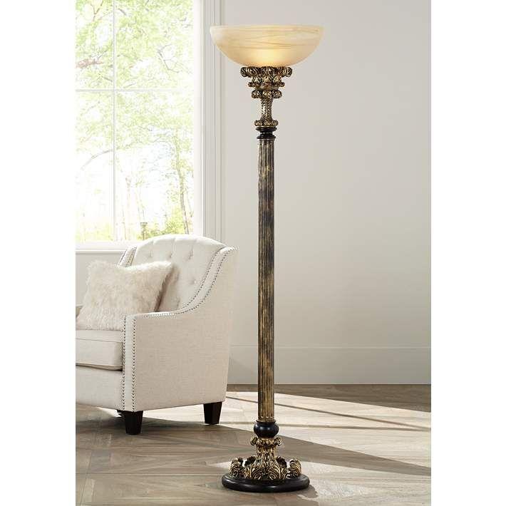 Florencio Antique Gold Torchiere Floor Lamp - #4C504 | Lamps Plus