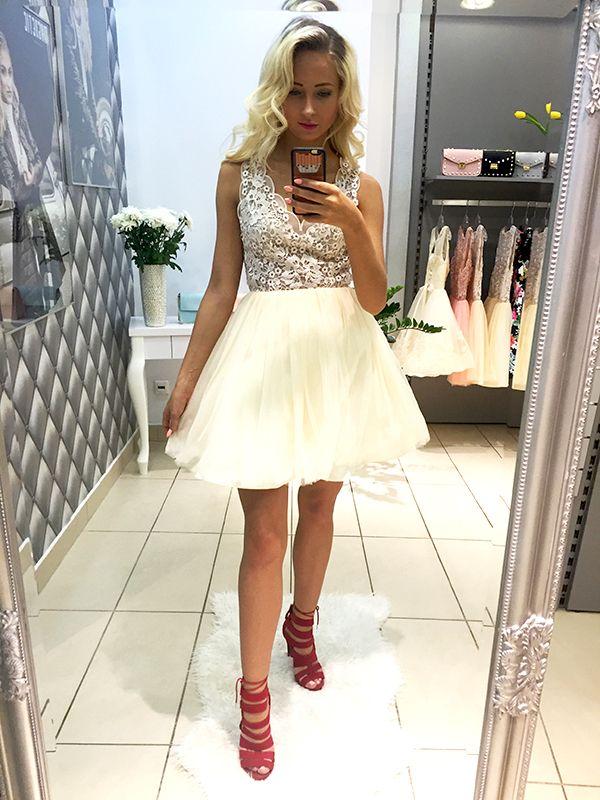 P47 Sukienka Tiulowa + Koronka Beżowa, LUXURY MAGNETIC
