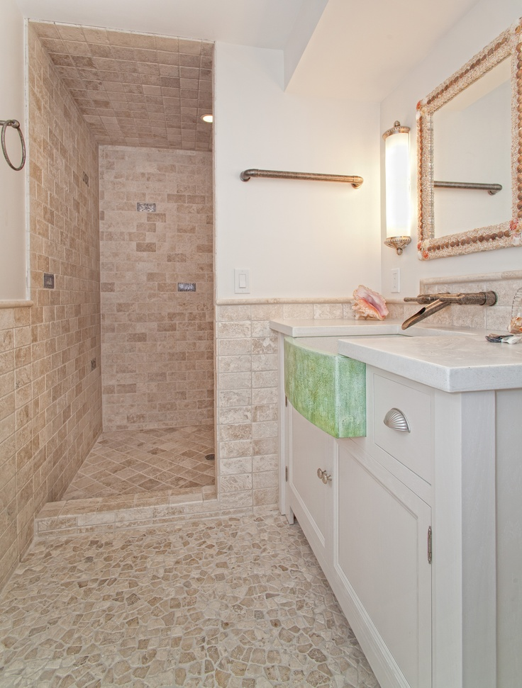 Beautiful bathroom with a spin on rustic and beachy it 39 s for Pool bathroom flooring