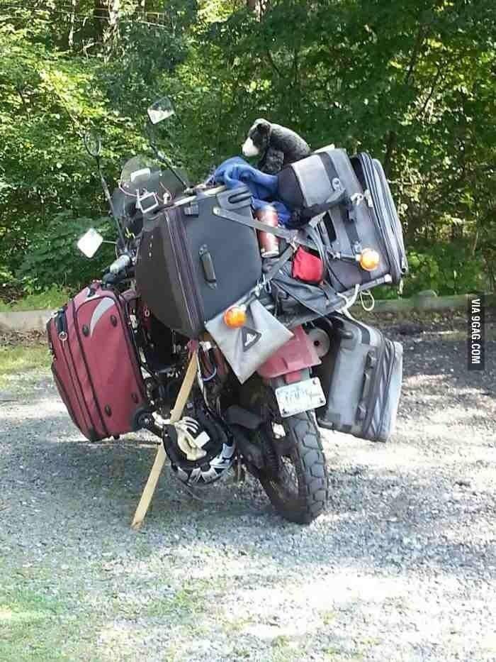 heavy packing, motorcycle travel