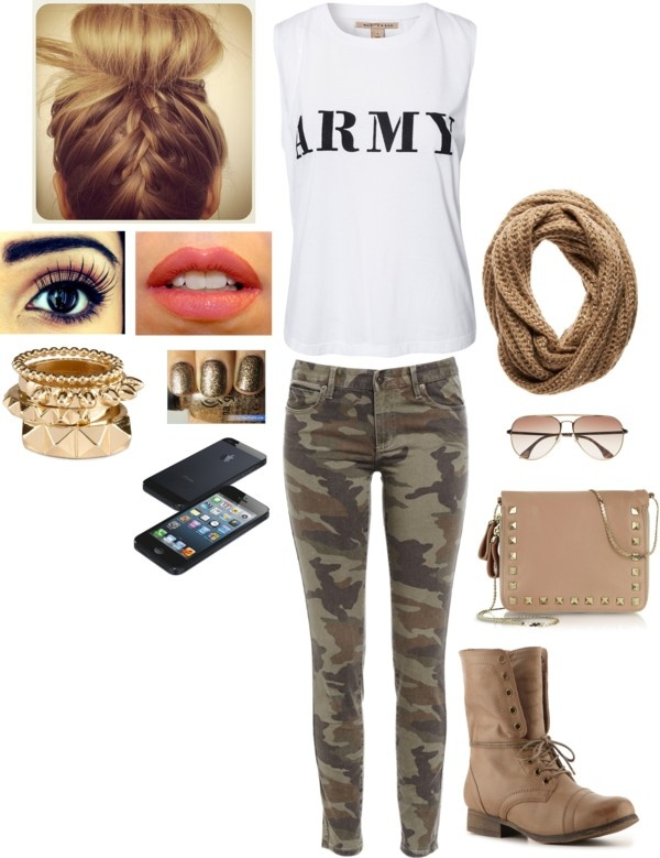 """army outfit"" by allison-19 ❤ liked on Polyvore"