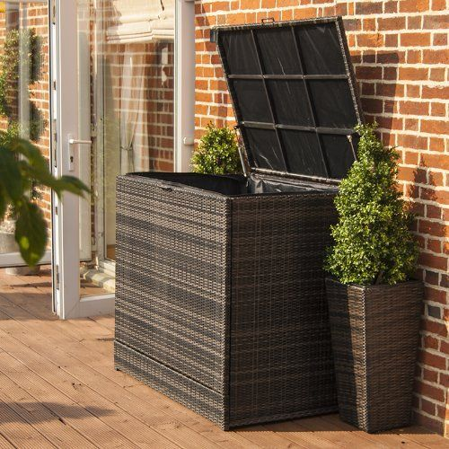 All Weather Large Cushion Storage Outdoor Rattan Garden Furniture Box    Brown by Belle Rattan Garden Furniture  http   www amazon co uk dp B00HR5EW. All Weather Large Cushion Storage Outdoor Rattan Garden Furniture