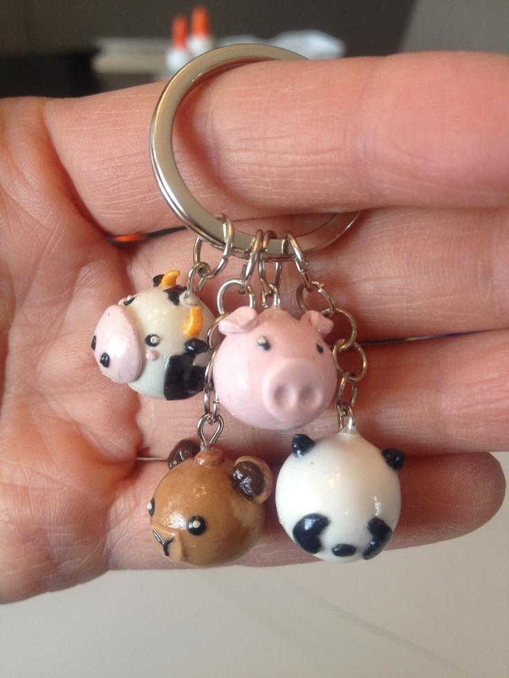 Polymer Clay Farm Animals Keychain Pig Cow Bear Panda