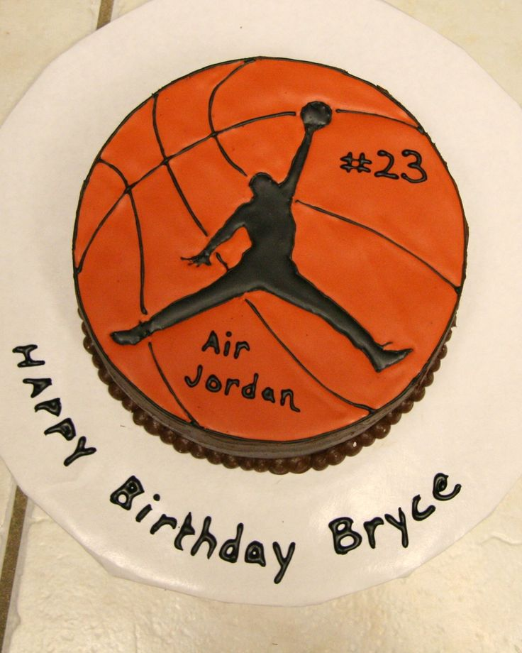 Devil's food cake with Michael Jordan and basketball in color flow.