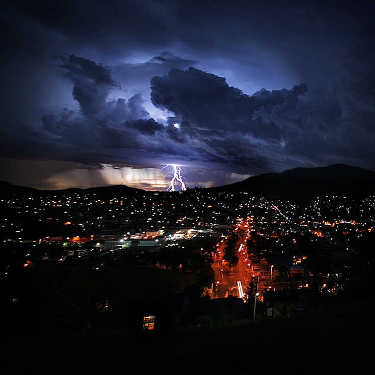 City and Mt Wellington during a storm Image credit - Andrew Wallace