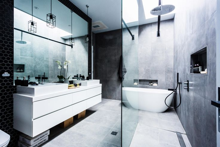 Chris & Jenna's winning bathroom on The Block Glasshouse utilising contrasting black & white features.