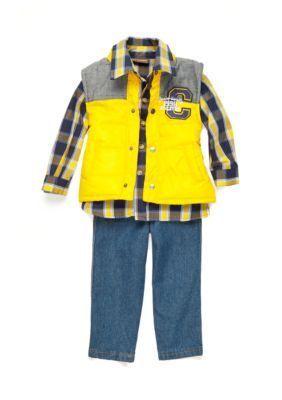 Nannette Yellow Yellow Vest Woven Denim 3-Piece Set Toddler Boys
