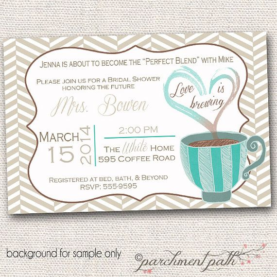Love is Brewing Bridal Shower or Bachelorette by parchmentpath, $11.50 (You order these and upload them to Walmart, Target, etc. so there will be no waiting for them to ship.)