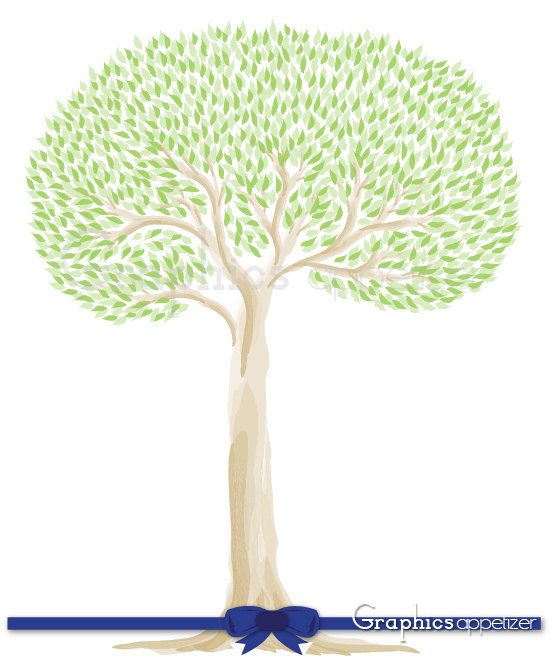 Digital Clip Art Tree- Watercolor Tree, Tree branches design, Yellowgreen Leaves, Personal and Commercial Use, INSTANT DOWNLOAD