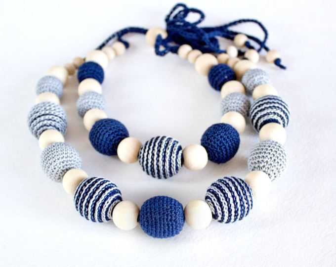 Navy Blue Nursing Necklace, mom&baby, Teething Crochet Necklace, bib gift necklace, Boho Summer Crochet Necklace, gift for new mother