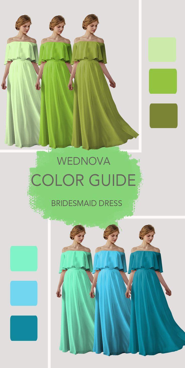 Grüne Brautjungfernkleider Chiffon-Boho-Kleid von der Schulter