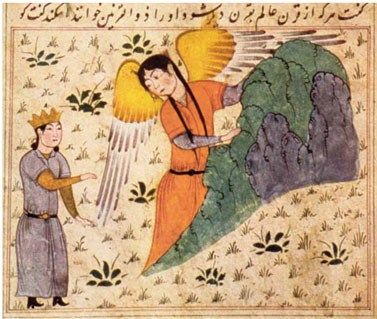 The angel leads Alexander  the Great up Mount Qaf