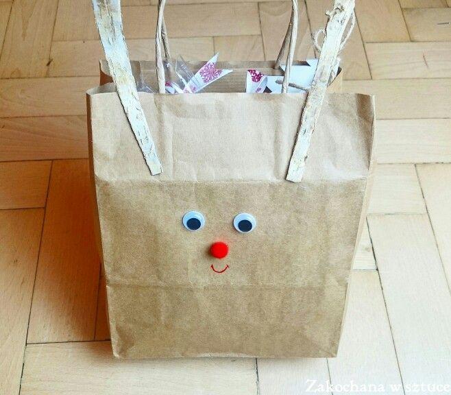 Moje ulubione świąteczne opakowanie na prezent - torba renifer   #torba #torbadiy #diy #renifer #bożenarodzenie #christmas #zakochanawsztuce